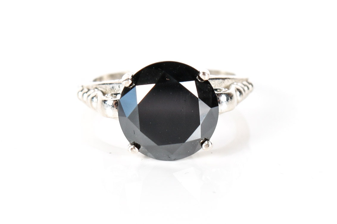 Sterling Silver and Black Diamond Ring