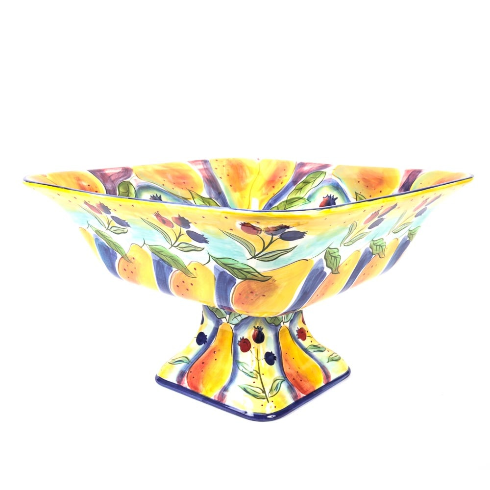Colorful Hand-Painted Pedestal Bowl