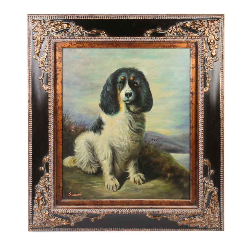Original Oil Painting Portrait of a Spaniel