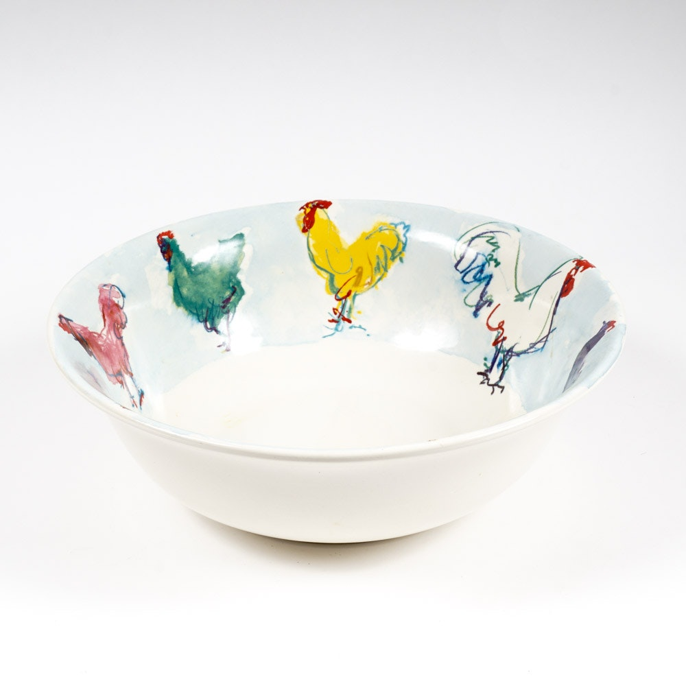 "Tiffany & Co. 1998  ""Tiffany Roosters"" Ceramic Bowl"