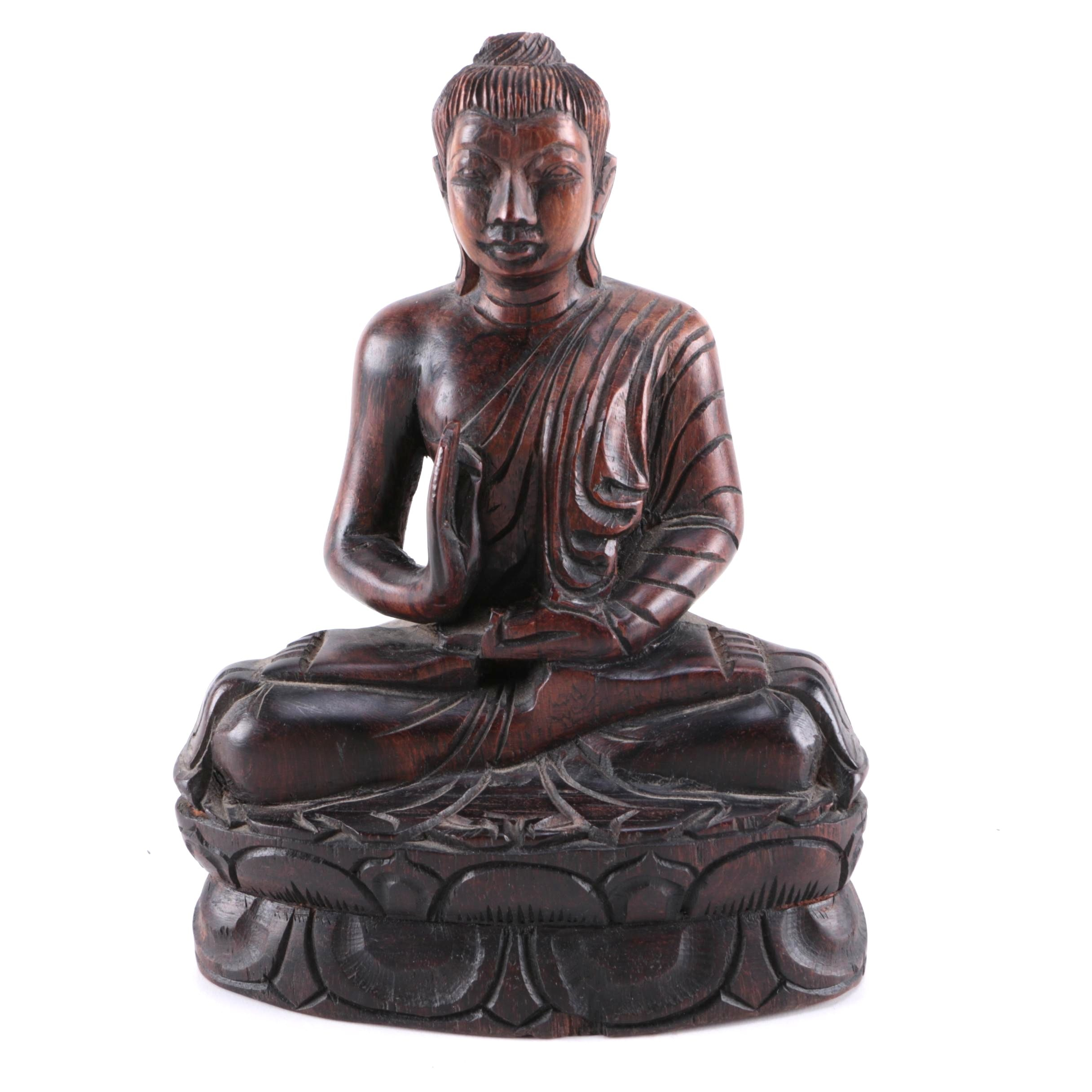 Wooden Sitting Buddha Carving