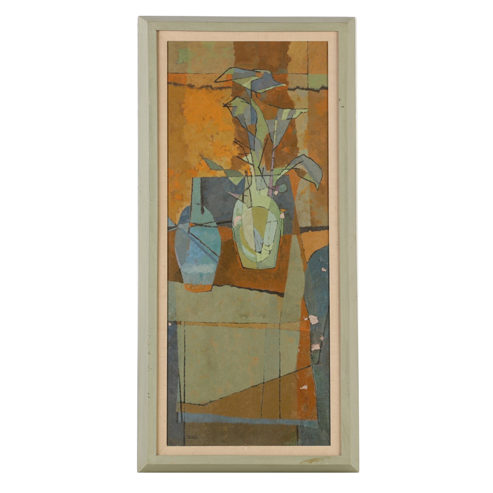 """Easton Pribble Oil Painting on Masonite """"Still Life in Blue and Orange"""""""