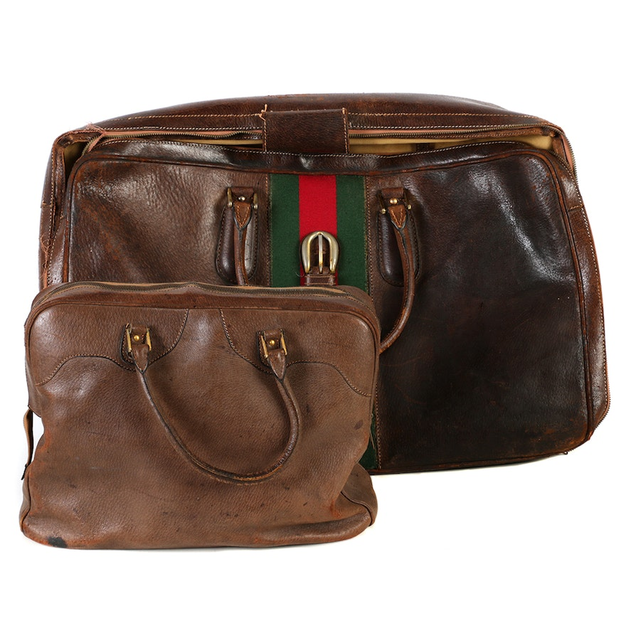2cd6356ff13bcb Vintage Gucci Leather Tote Bag and a Leather Hand Bag : EBTH
