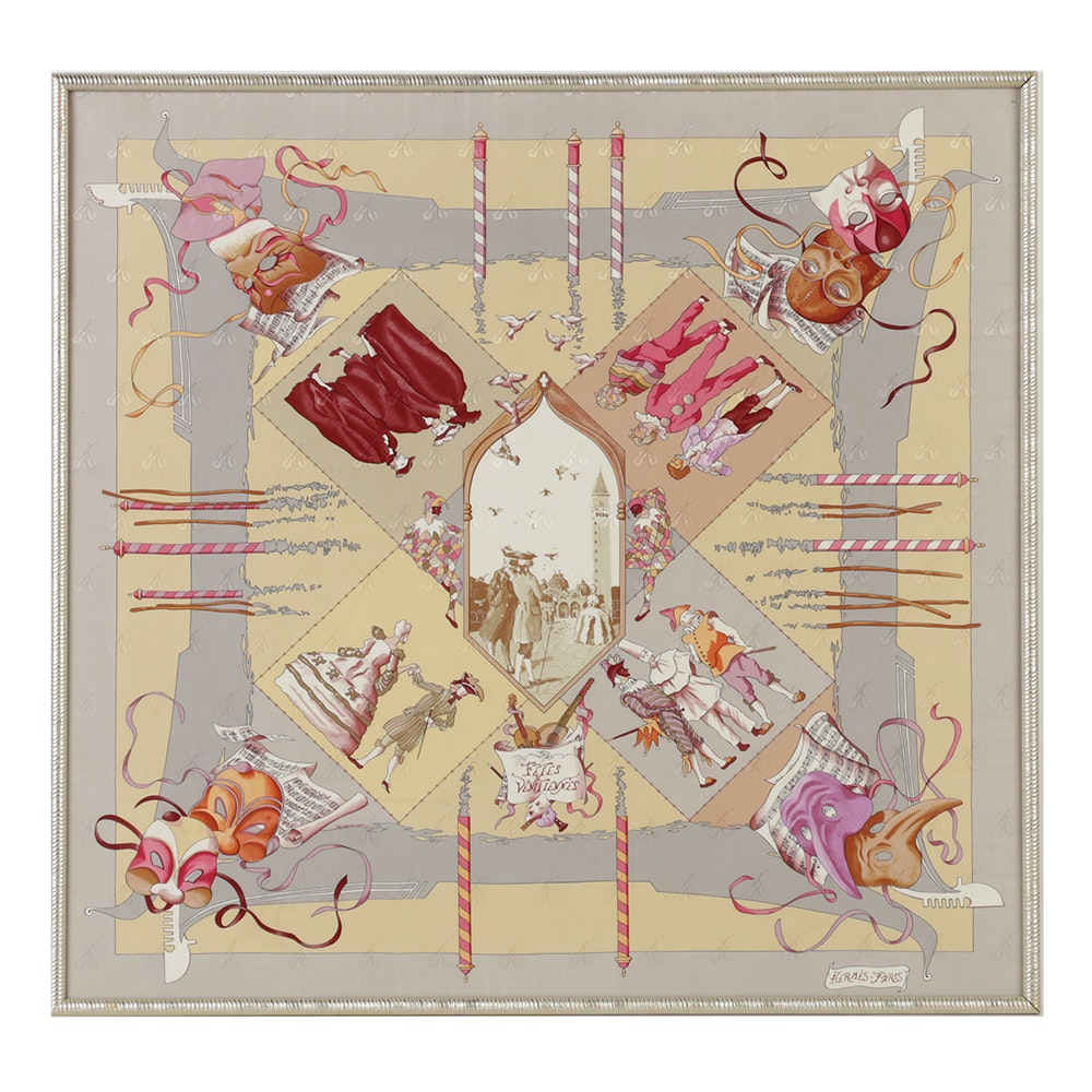"""Framed Hermés """"Fétes Vénitiennes"""" Silk Scarf"""