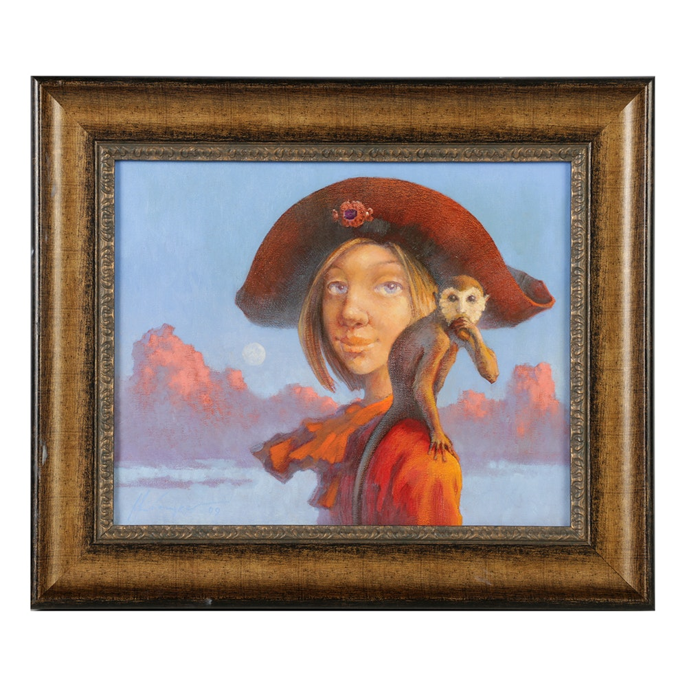 Mihail Kivachitsky Oil Painting on Canvas of a Pirate with a Monkey