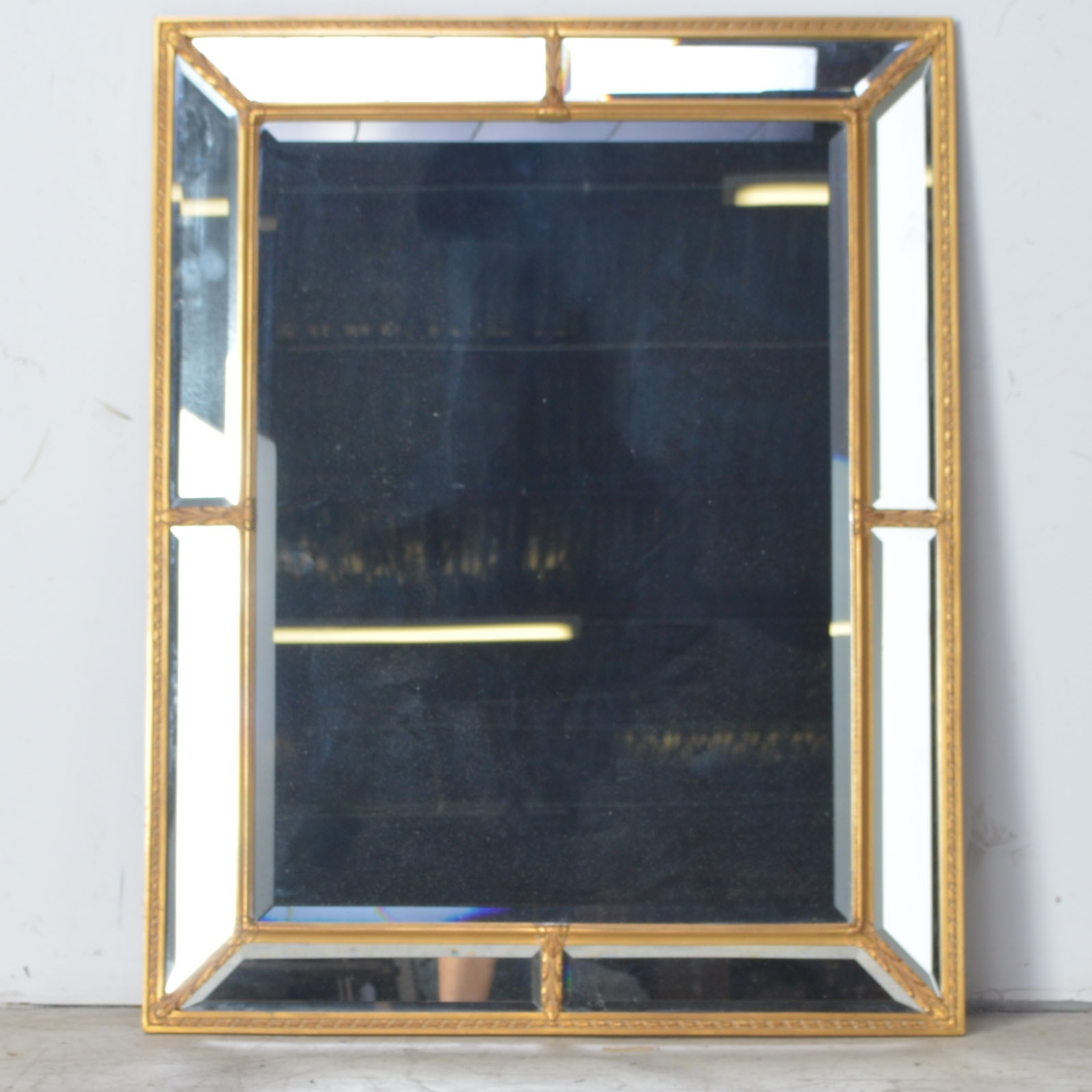 Large Sectional Wall Mirror with Gold Painted Frame