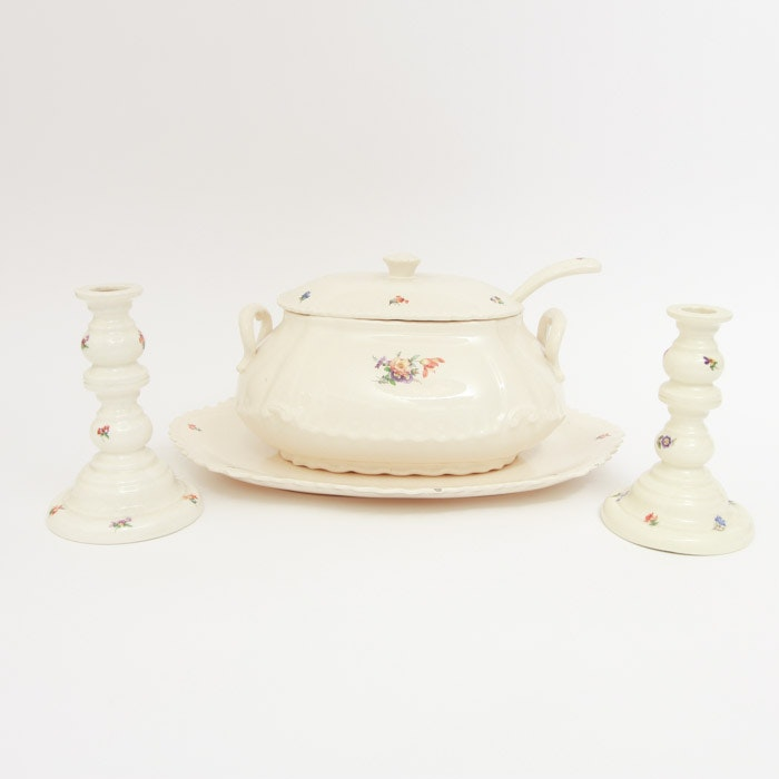 Tureen, Platter, and Candle Holders