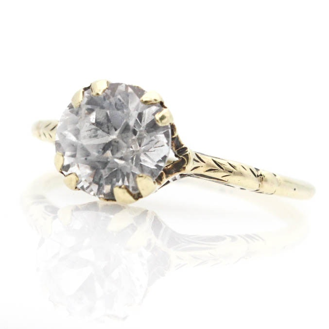 14K Yellow Gold White Sapphire Solitaire Ring