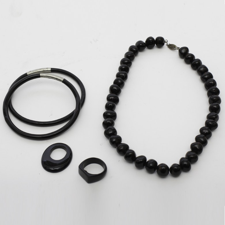 Carved Jet Ring and Bangle Bracelets, Tagua Nut Necklace with Sterling, and Onyx Earring Charm