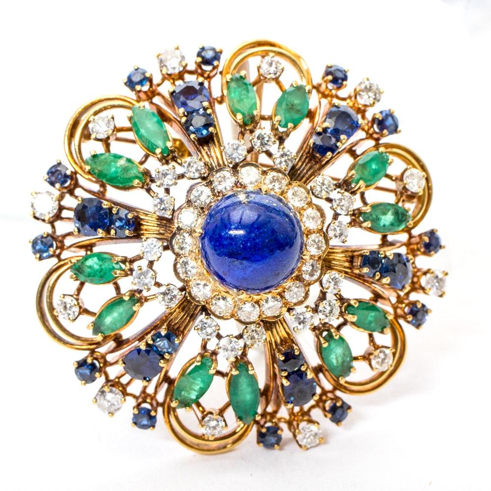 Vintage 18K Yellow Gold, 4.18 CTW Diamond, 7.70 CTW Sapphire, 5.40 CTW Emerald and Lapis Lazuli Brooch