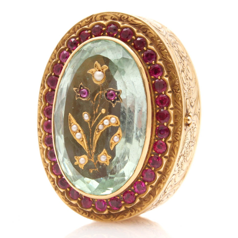 14K Yellow Gold Prasiolite, Seed Pearl, and Synthetic Ruby Pill Box