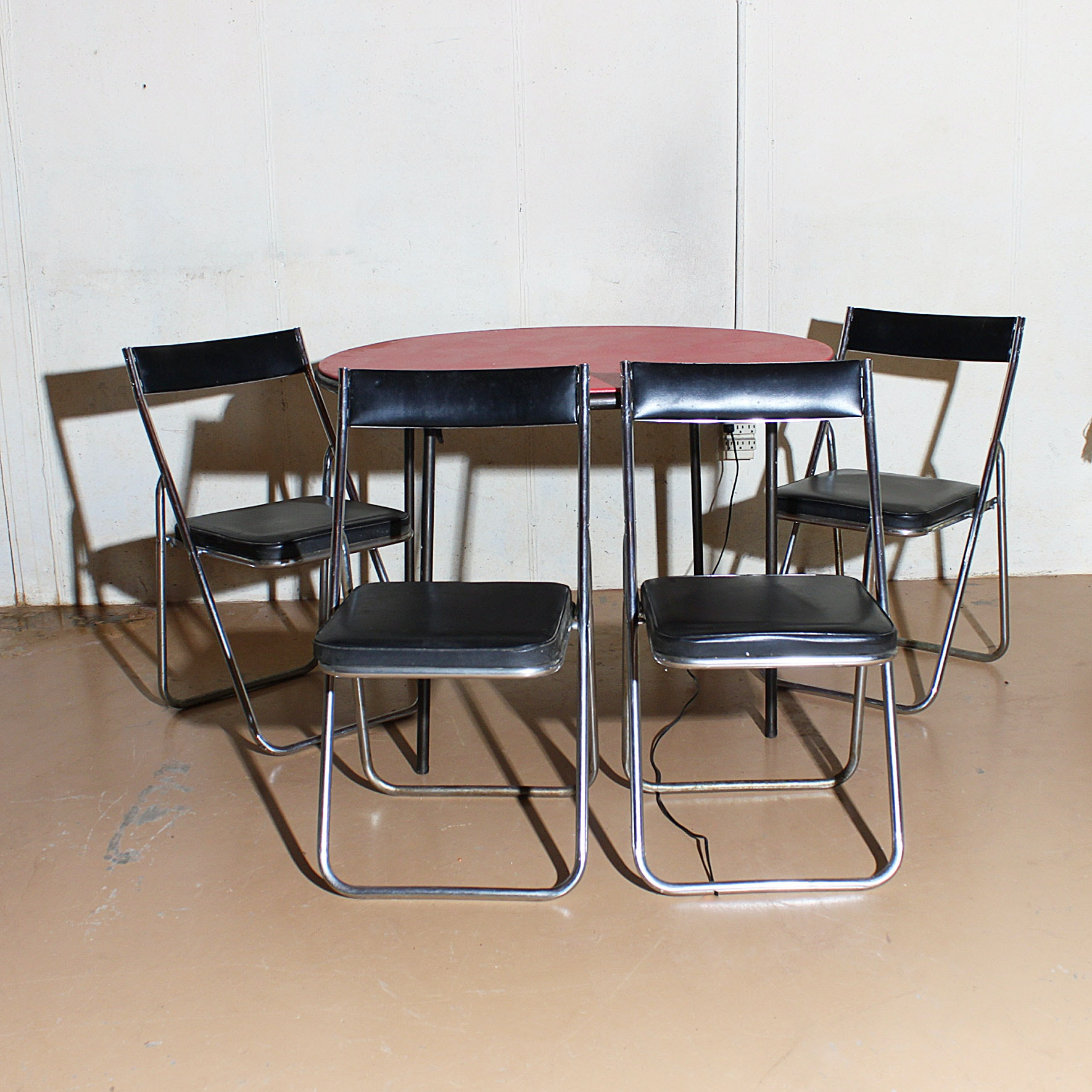 Vintage Cosco Card Table With Nevco Folding Chairs