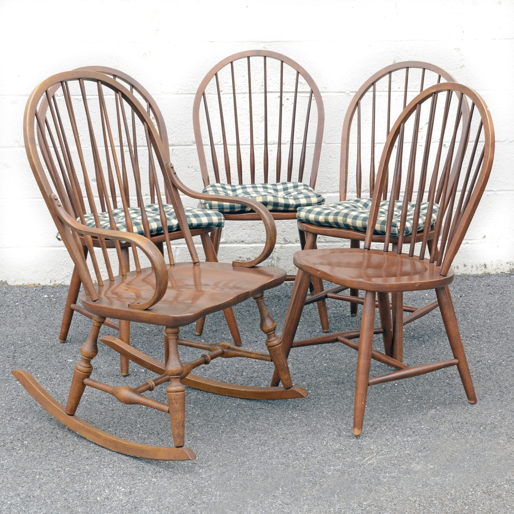 Ethan Allen Spindle Dining Chairs and Rocker