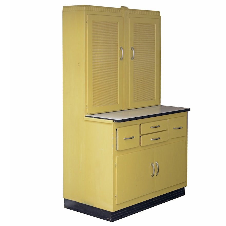 Mid century yellow painted kitchen cabinet by keystone ebth for Ce kitchen cabinets