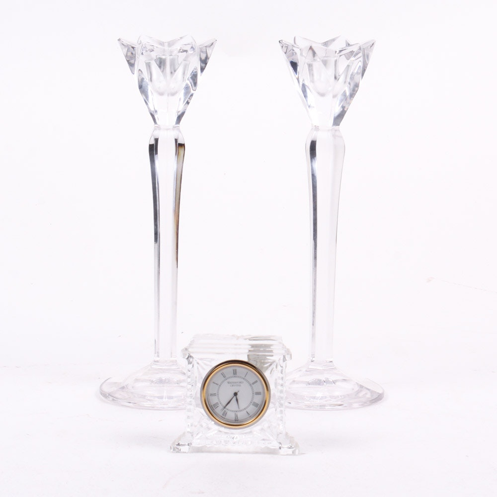 Waterford Crystal Clock and Candlesticks
