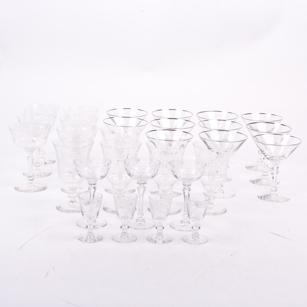 Etched Crystal Stemware