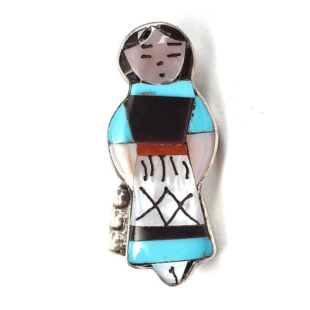 Signed Sterling Silver Native American Style Pendant Brooch