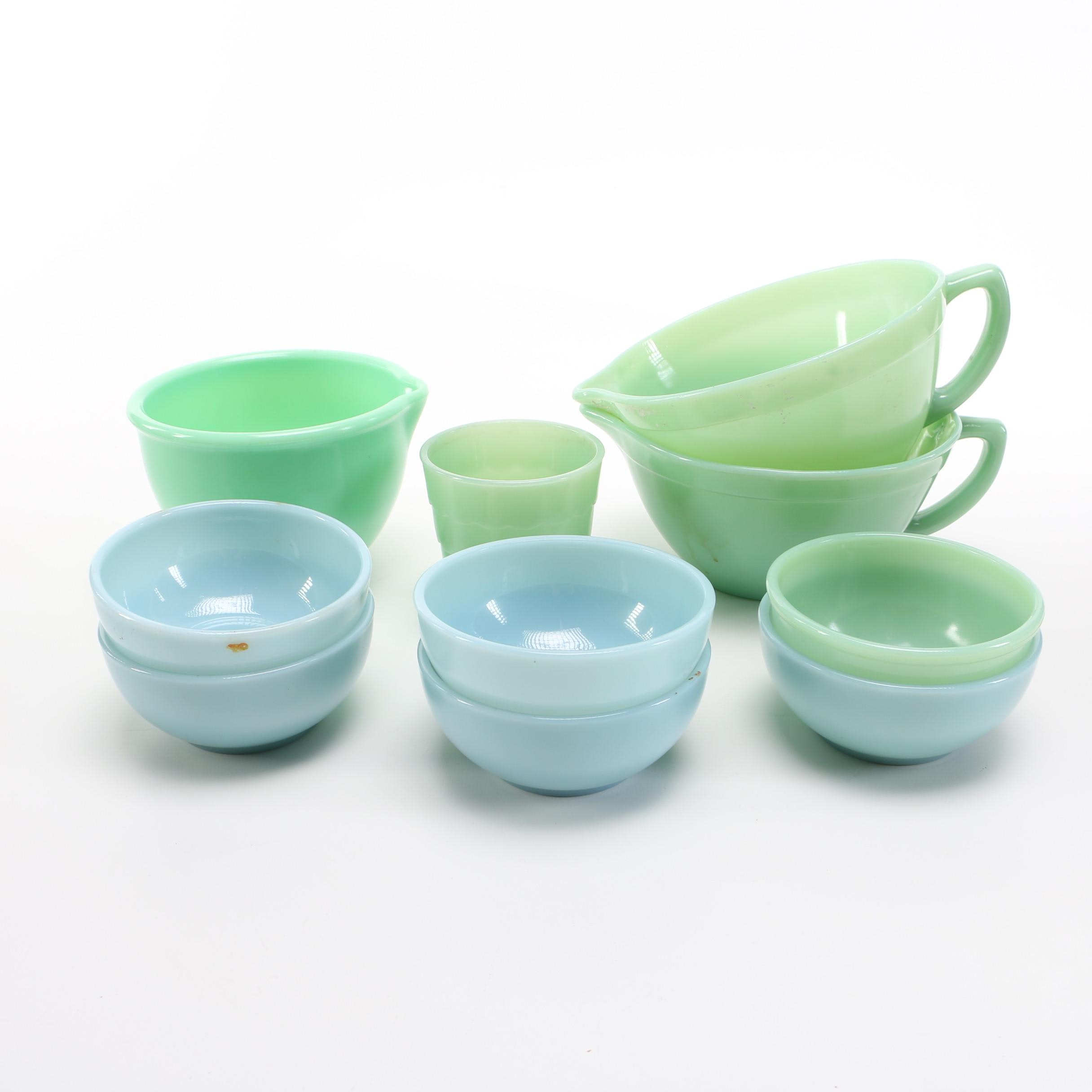 Assortment of Mint and Blue Fire King Dishes