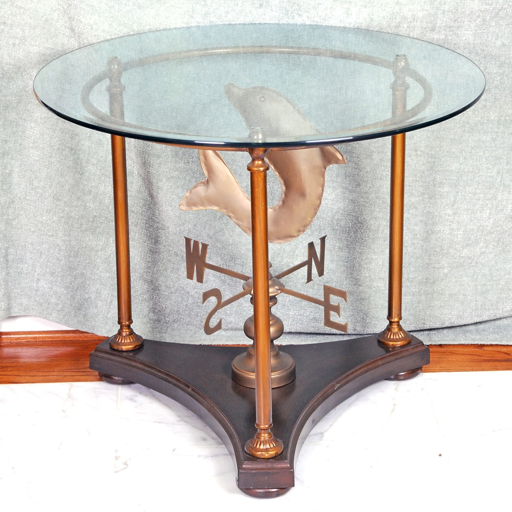Weather Vane Glass Top Accent Table