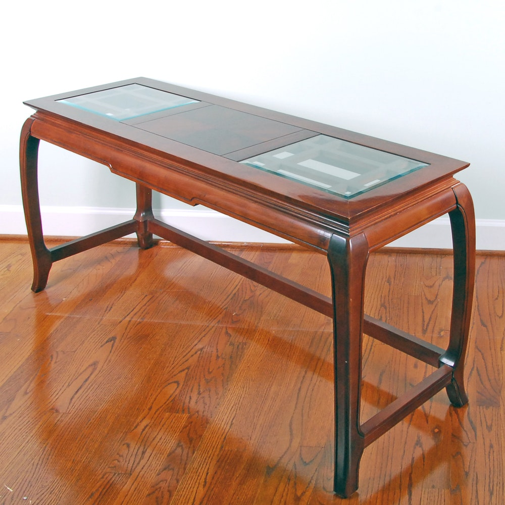 Glass Top Cherry Finish Console Table