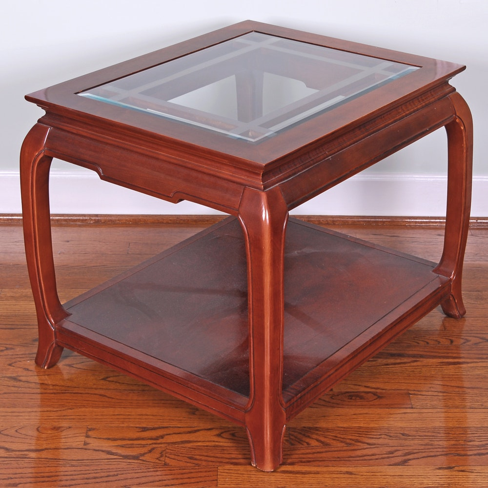 Glass Top Cherry Finish Side Table
