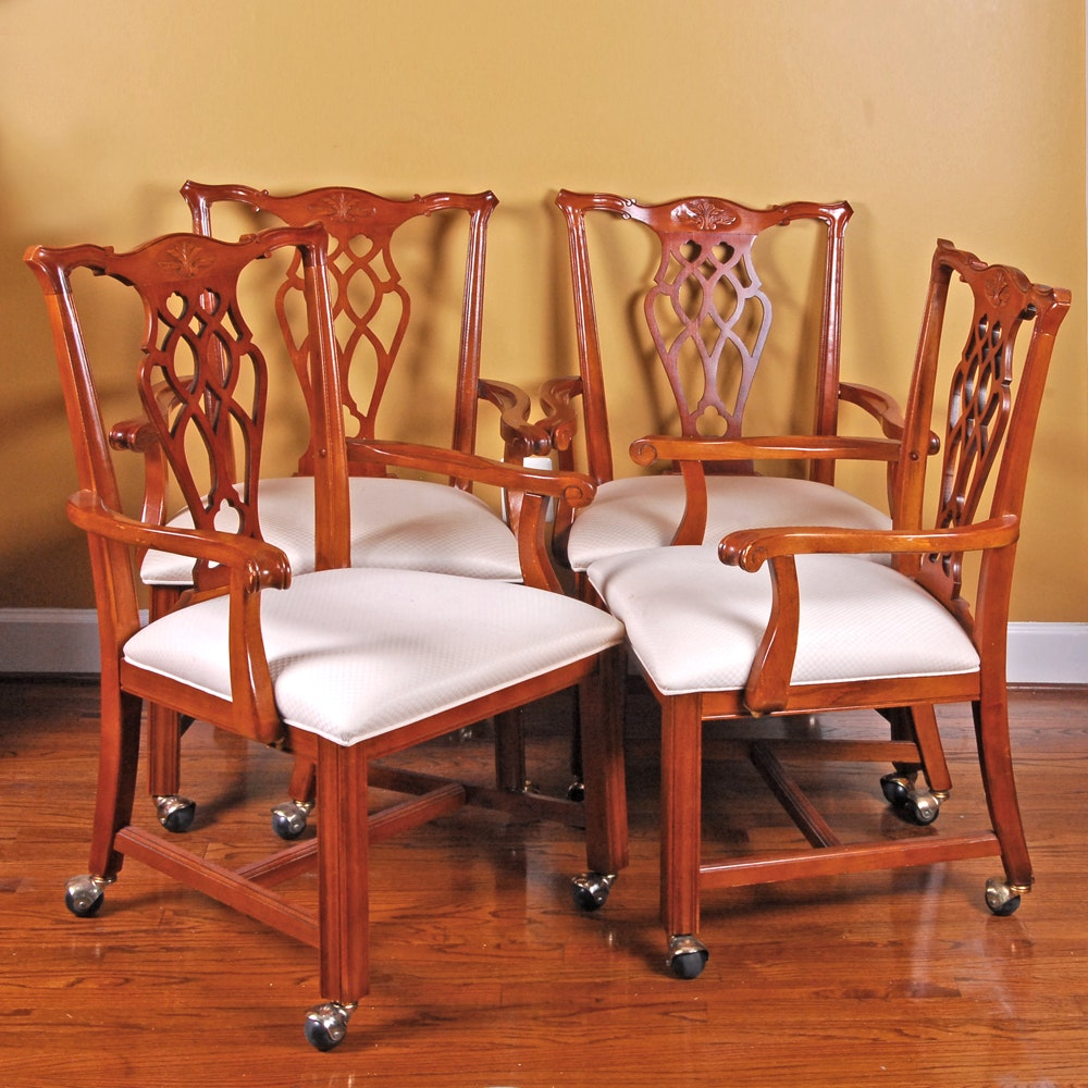 Set of Four Wooden White-padded Parson Chairs