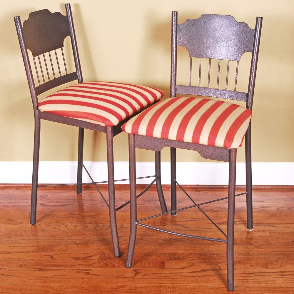 Pair of White and Red Stripe Amisco Stools