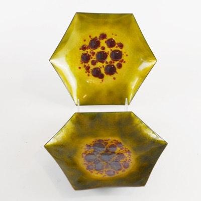 Modernist Enamel Over Copper Bowls
