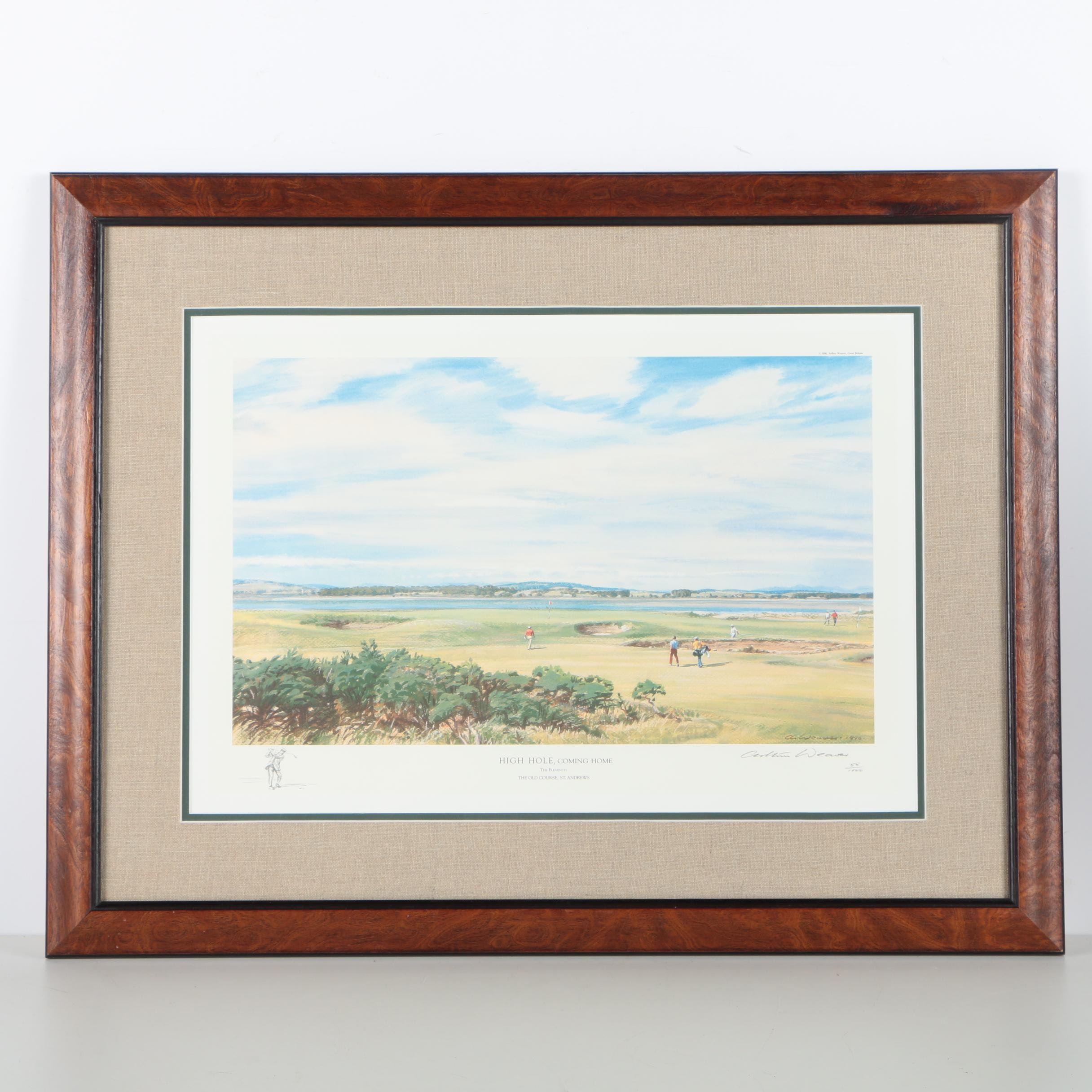 """Arthur Weaver Limited Edition Offset Lithograph of St. Andrews """"High Hole, Coming Home"""""""