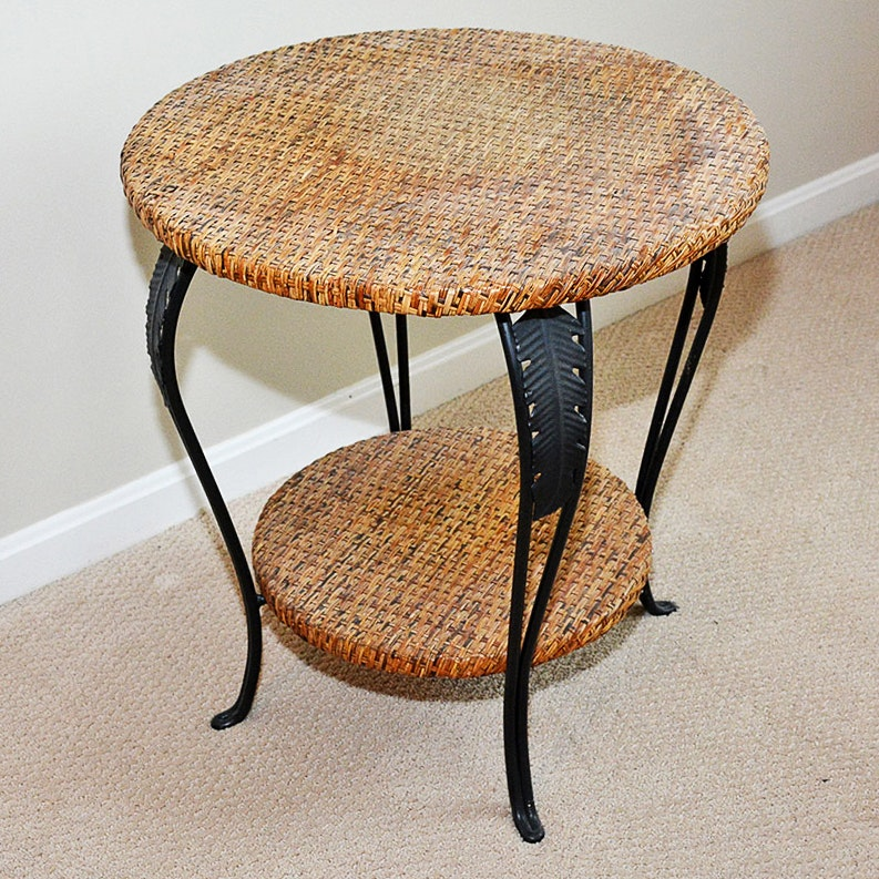 Wicker and Metal Accent Table