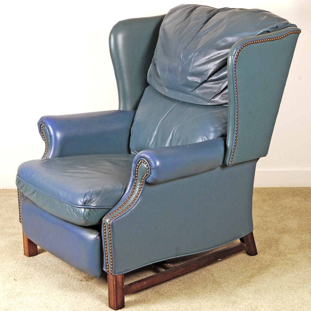 Blue Leather Recliner by Barcalounger