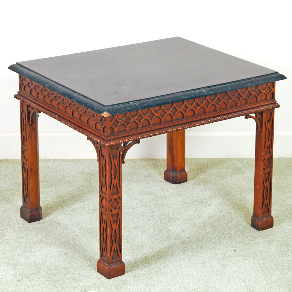 Marble Tile Topped Wooden Table