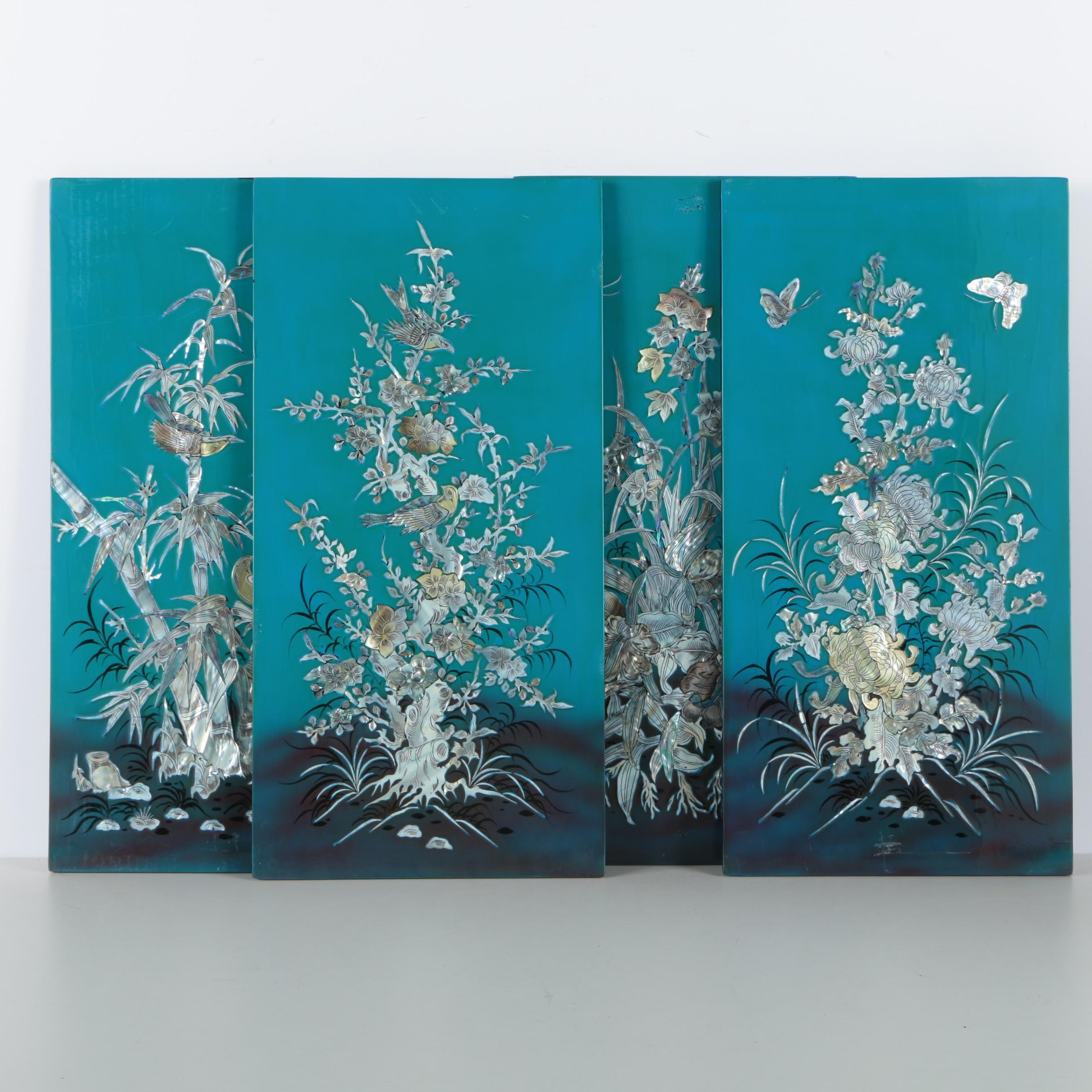 Vietnamese Lacquered Wood Panels With Mother of Pearl Inlay
