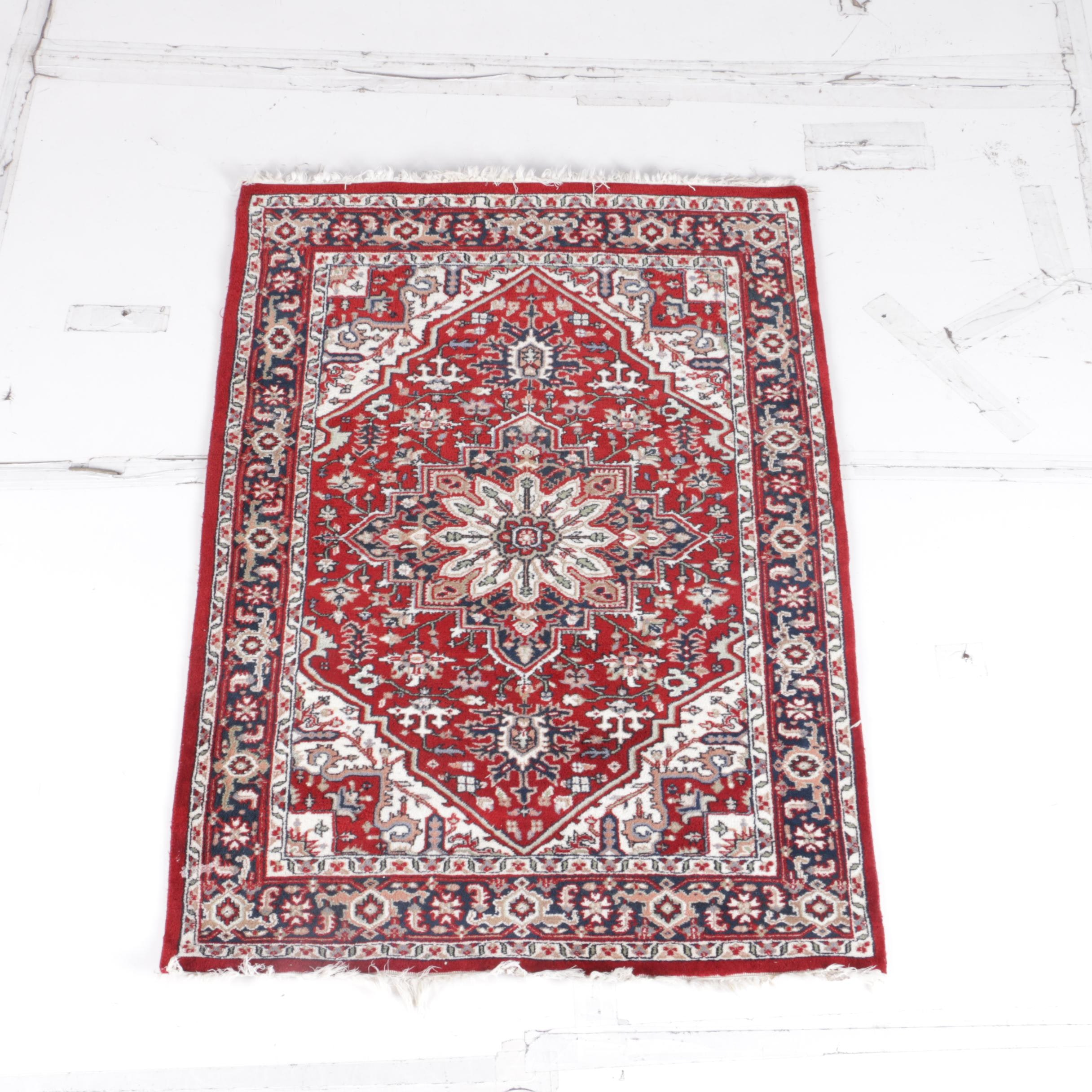 Hand-Knotted Indo-Heriz Area Rug