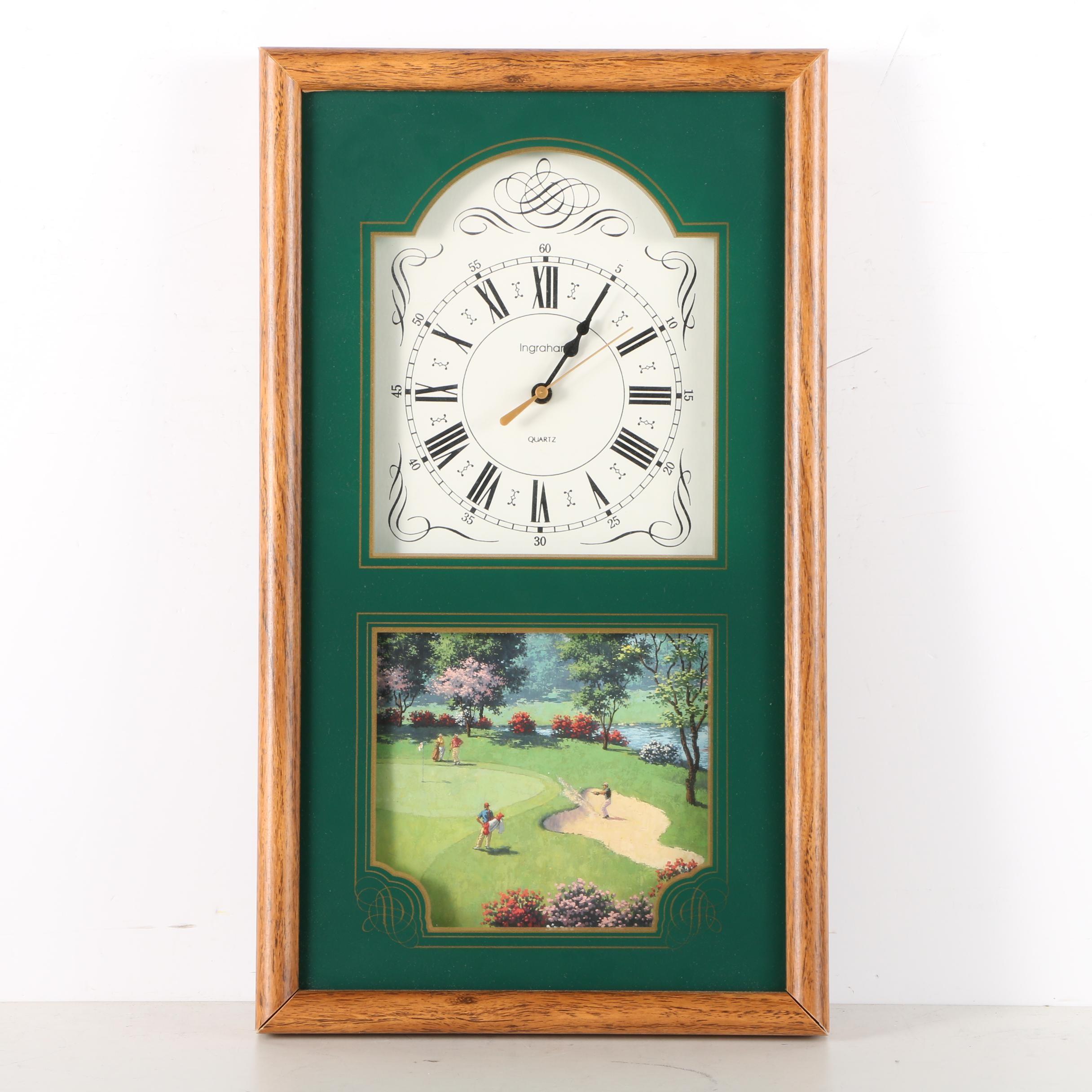 Ingraham Golf-Themed Analog Wall Clock