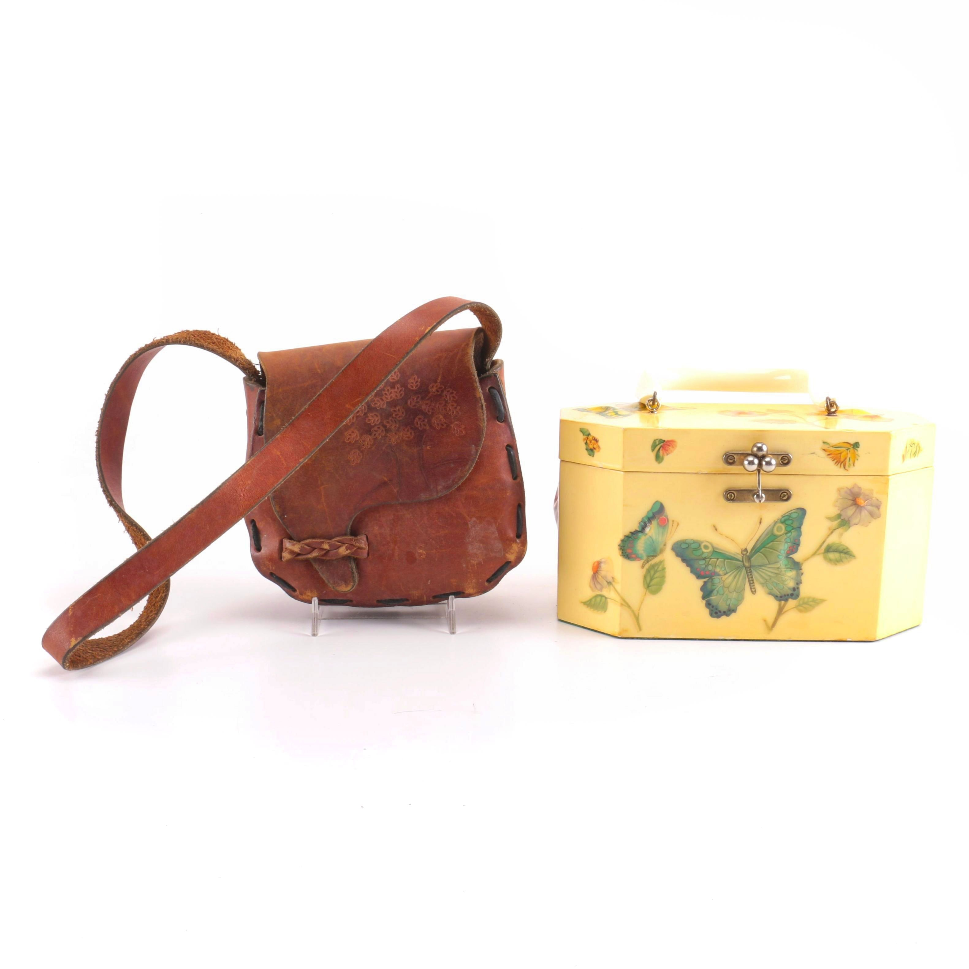 Vintage Leather Saddle Bag and Annie Laurie Decoupage Box Purse