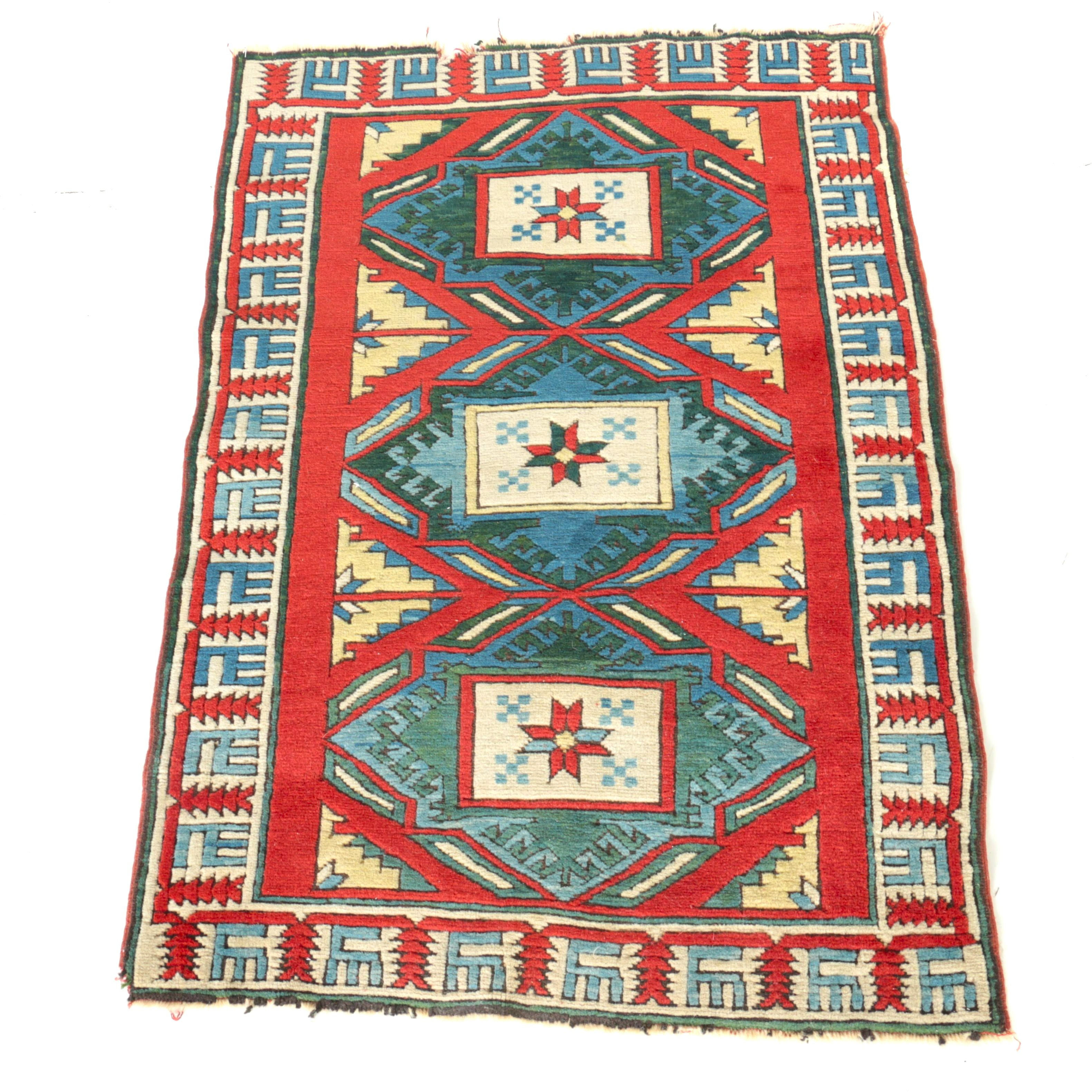 Hand-Knotted Caucasian Area Rug