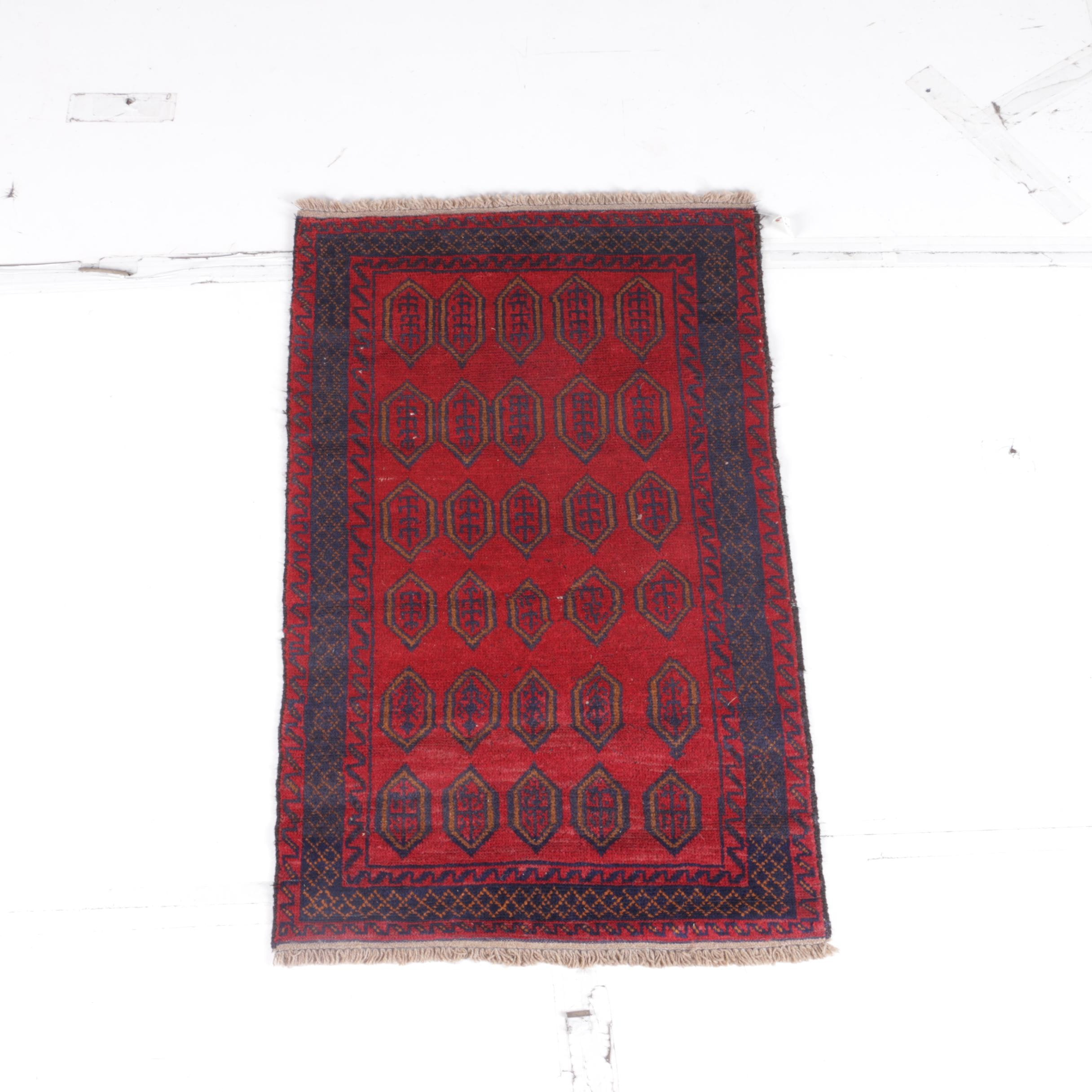 Hand-Knotted Central Asian Tribal Accent Rug