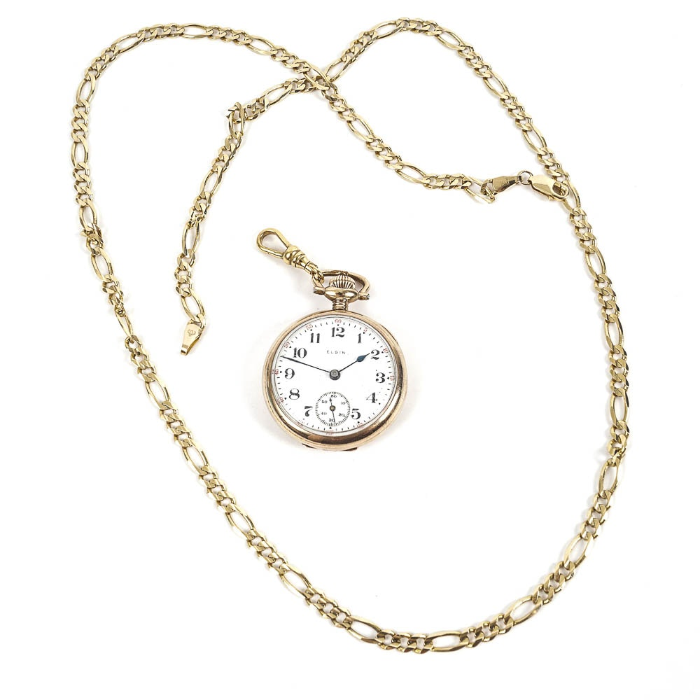 Elgin 10K Yellow Gold Pocket Watch and 14K Gold Filled Chain