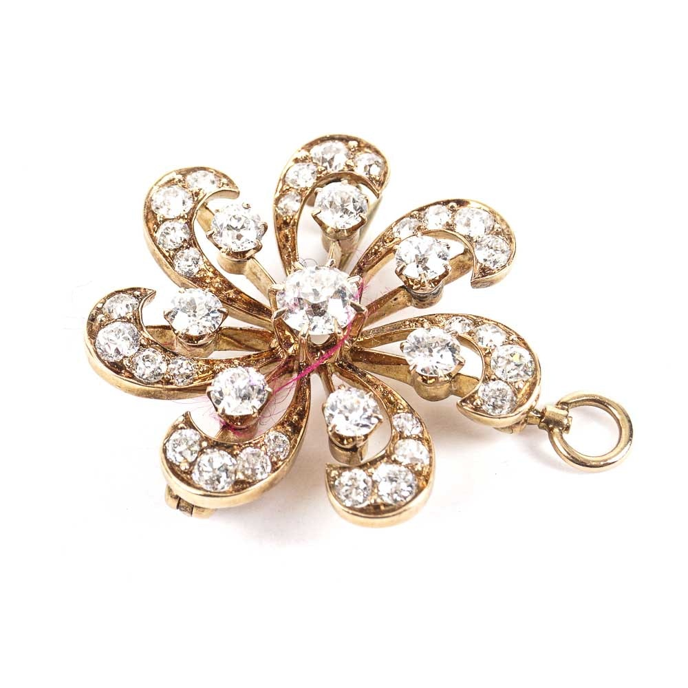 14K Yellow Gold Brooch Pendant with Diamonds