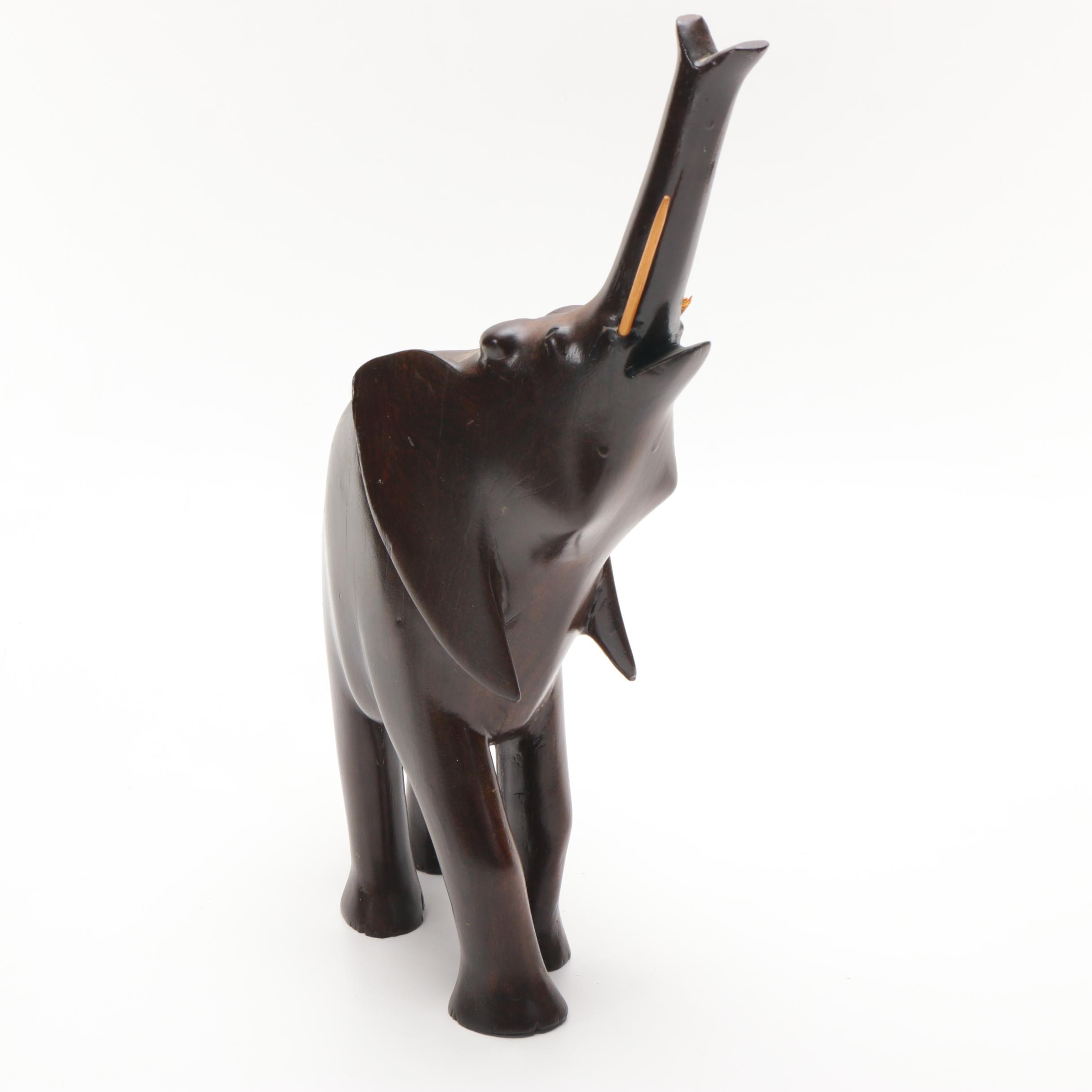 Carved Wooden Elephant Figure