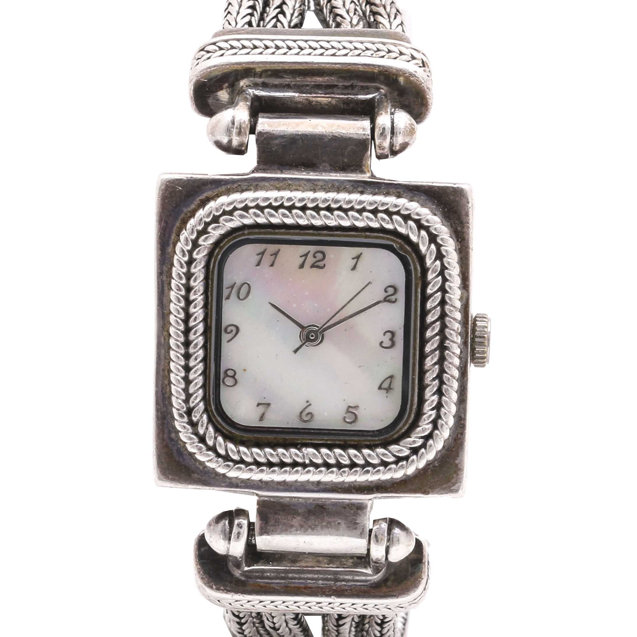 Stainless Steel Mother of Pearl Wristwatch
