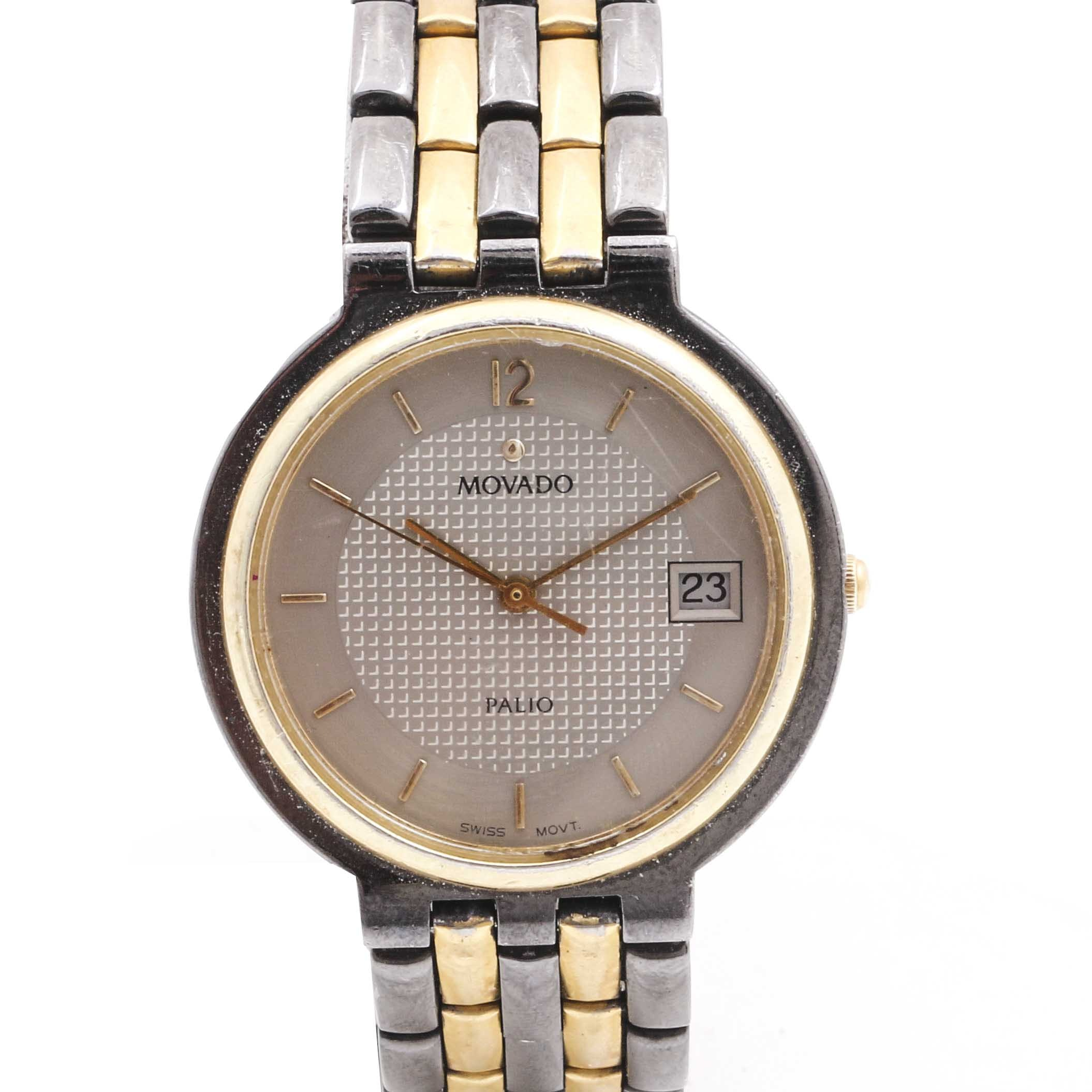 Movado Palio Stainless Steel and 18K Gold Electroplated Wristwatch