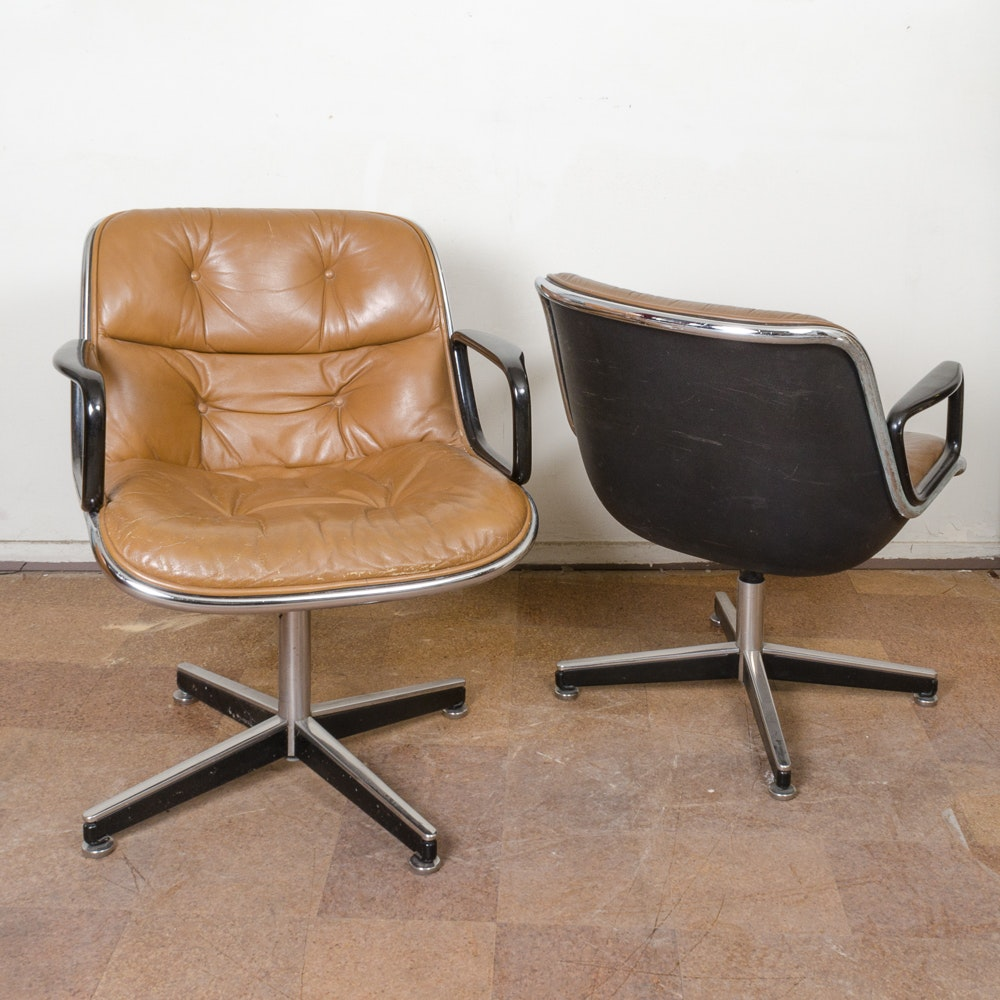 Collection of Leather Upholstered Chairs by Knoll