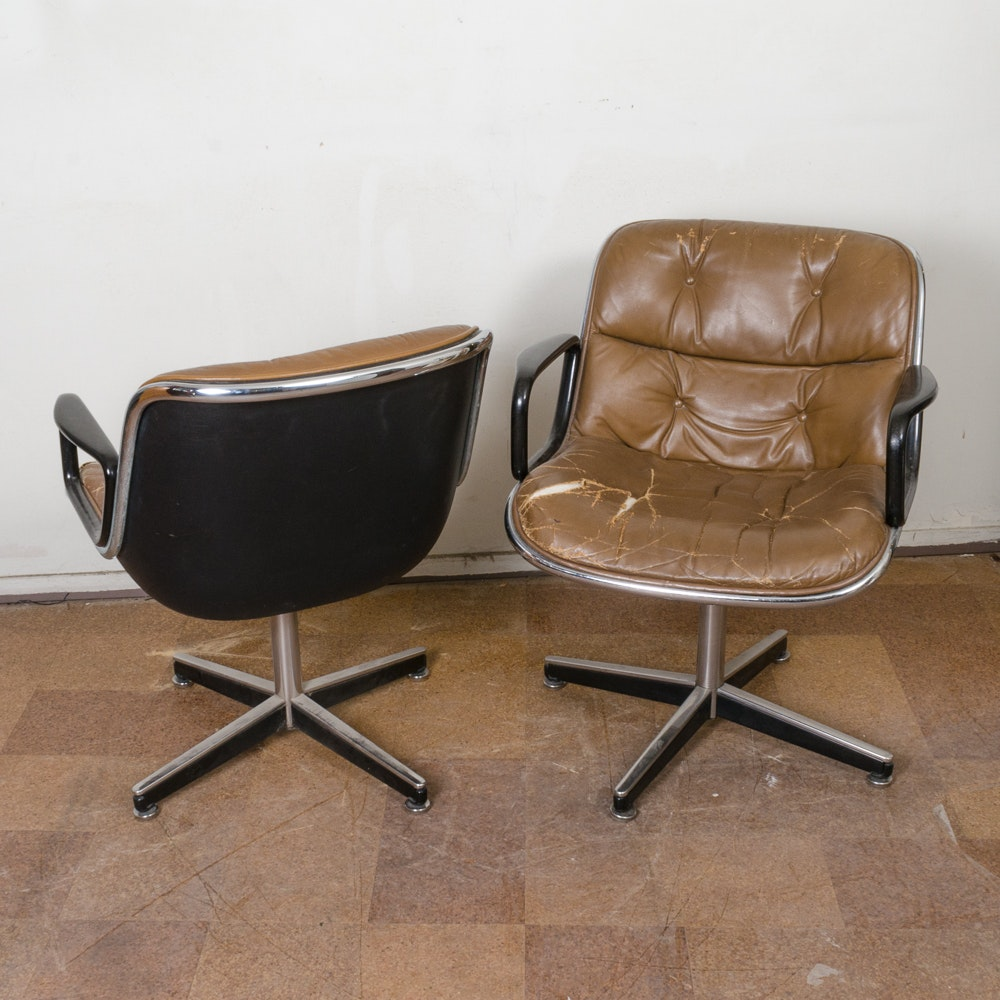 Pair of Leather Upholstered Chairs by Knoll