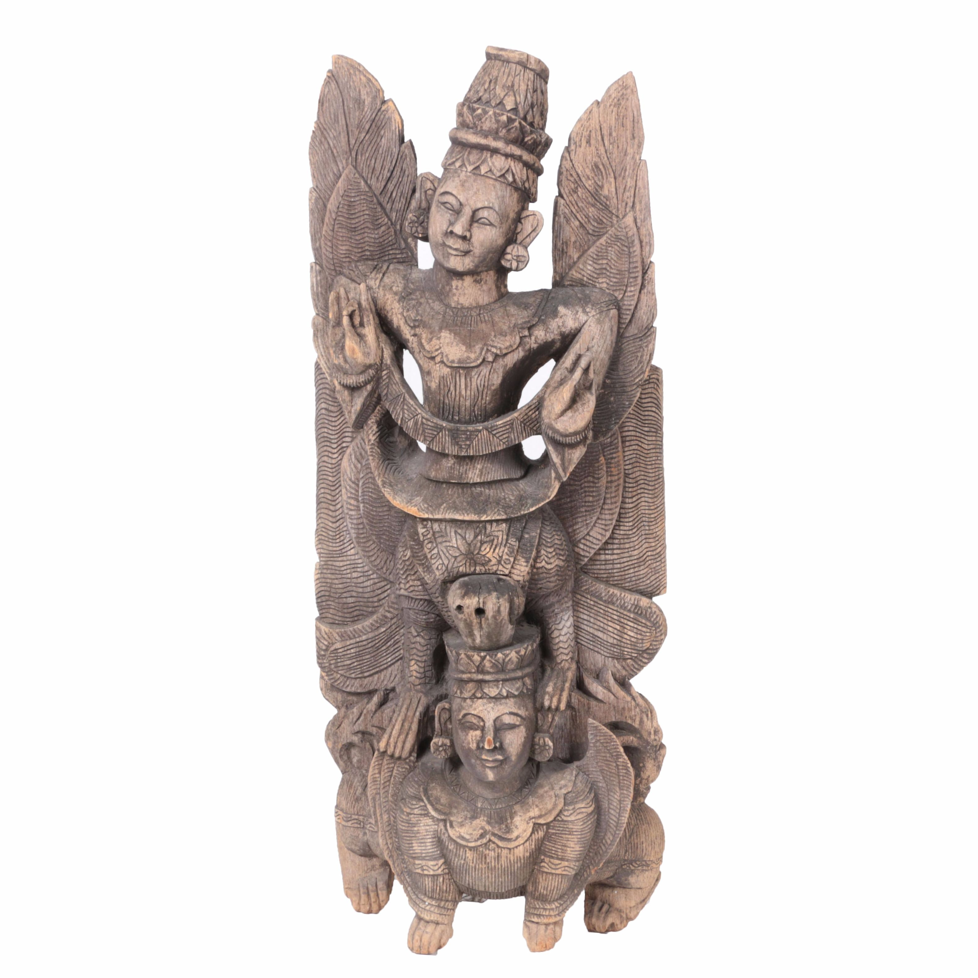 Southeast Asian Style Carved Wood Statue