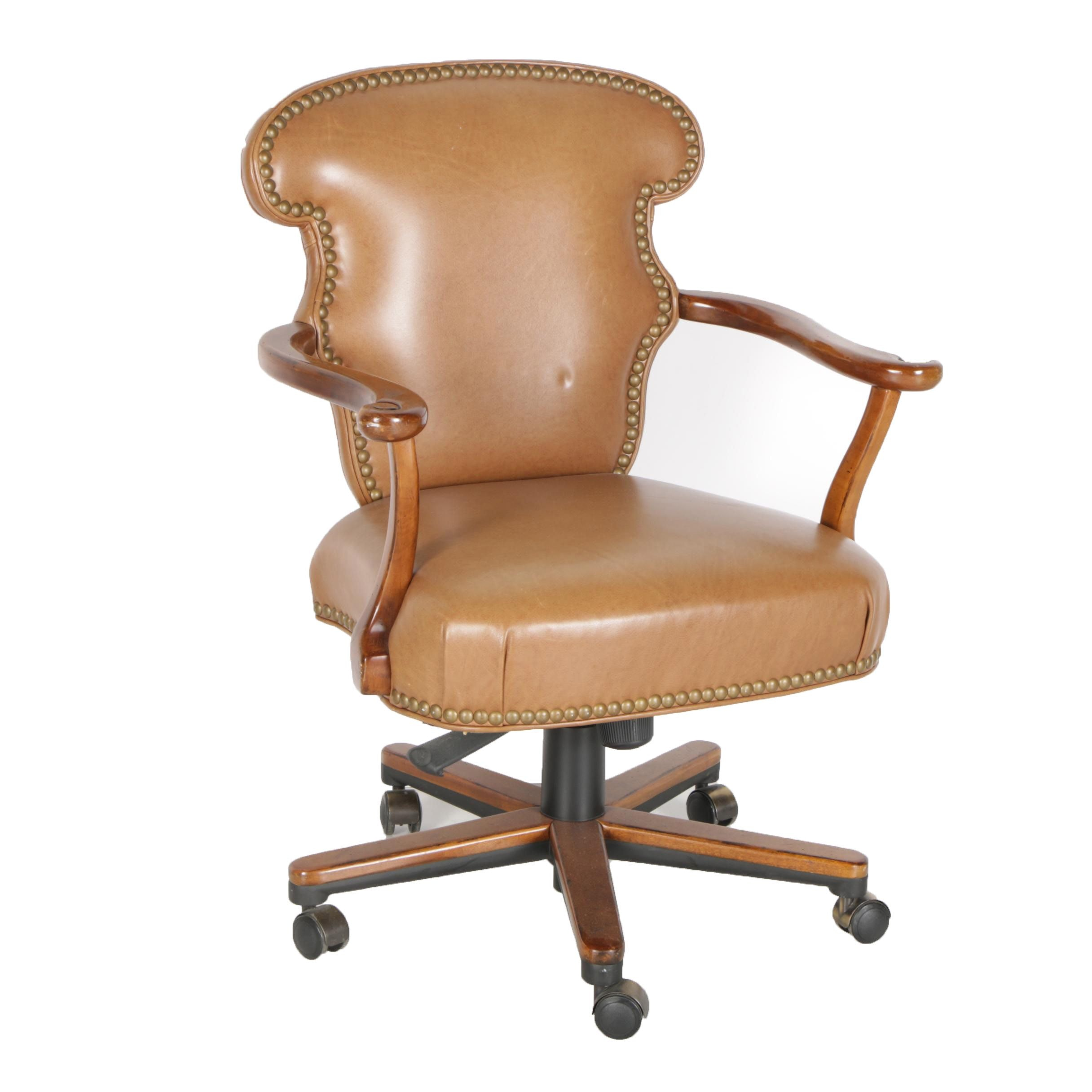 Leather Upholstered Rolling Desk Chair by Century Furniture