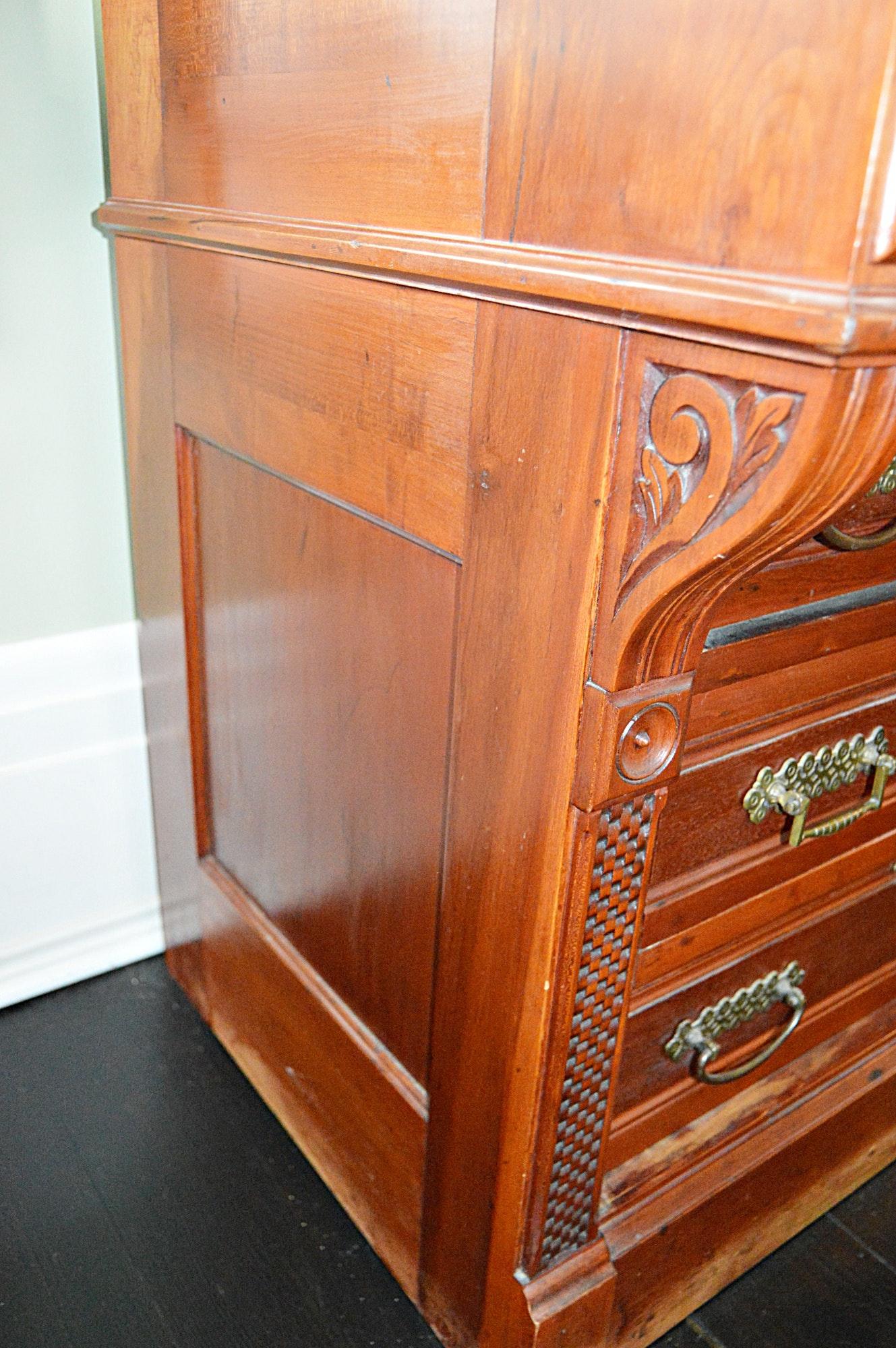 Victorian Eastlake Walnut Cylinder Roll Top Desk Ebth