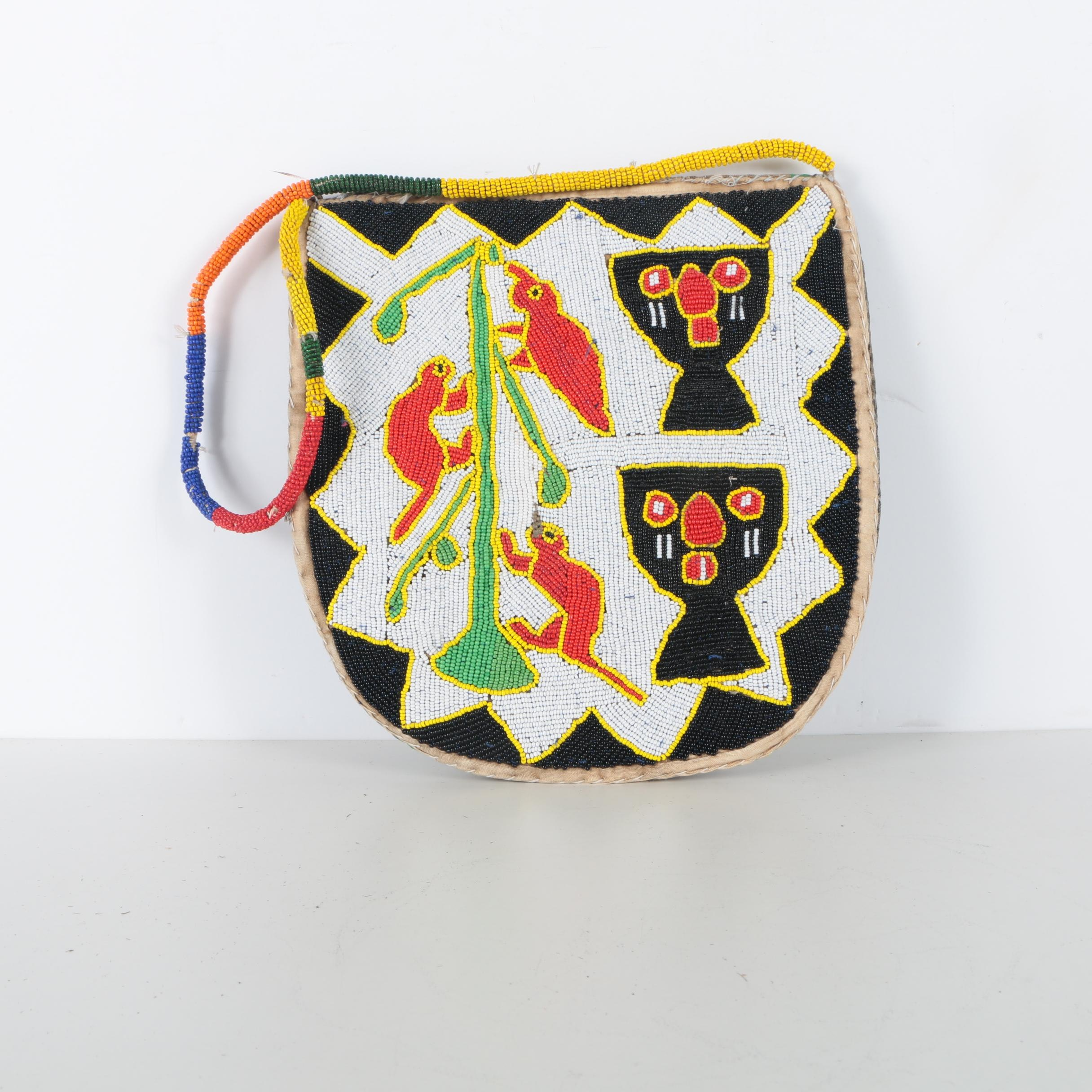 Green, Red, and Yellow Beaded Handbag