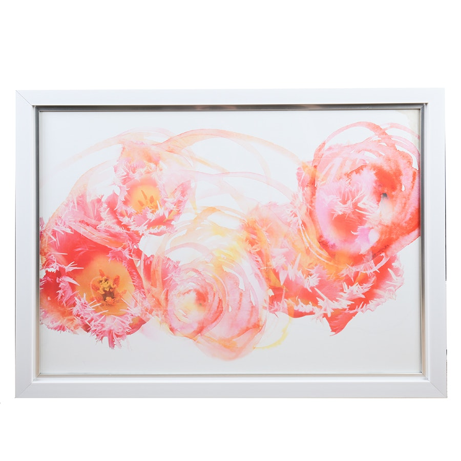 Offset Lithograph of Abstract Pink Flowers